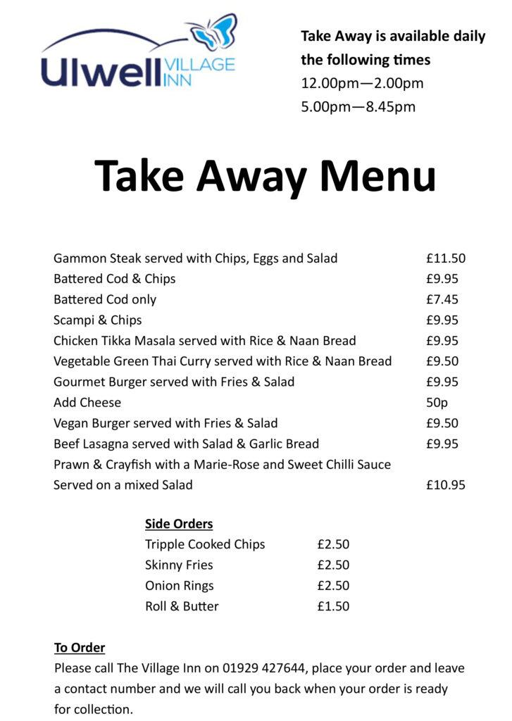 Village inn takeaway menu