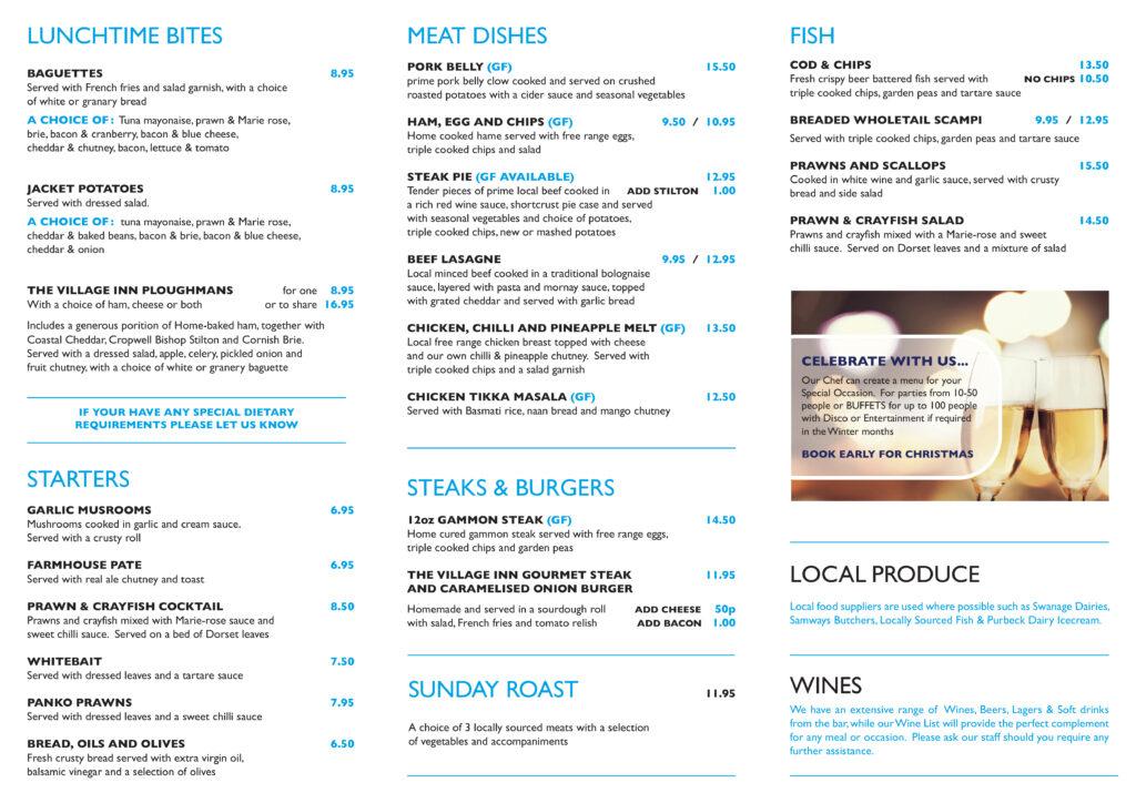 the village inn food menu
